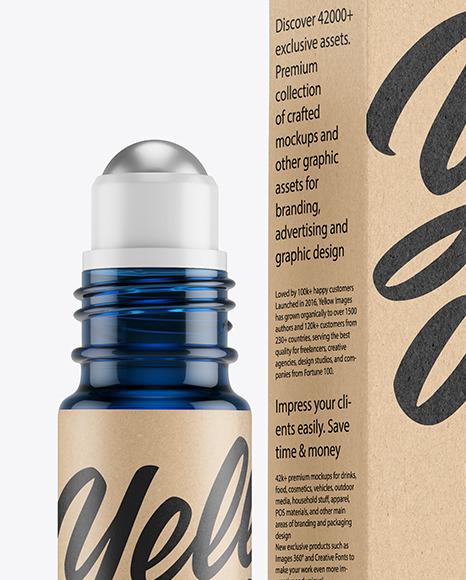 Blue Glass Roller Bottle with Kraft Box Mockup