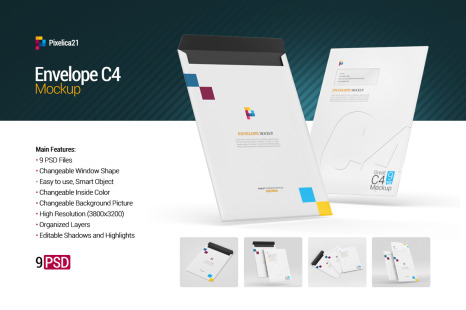 Download Envelope C4 Mockup In Stationery Mockups On Yellow Images Creative Store PSD Mockup Templates