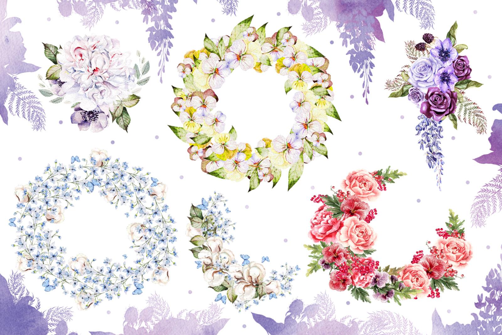 53 Watercolor Wreath & Bouquets