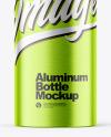 Brushed Metallic 200ml Aluminum Bottle w/ Screw Cap Mockup