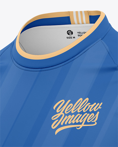 Long Sleeve Soccer Jersey Mockup - Front Half Side View