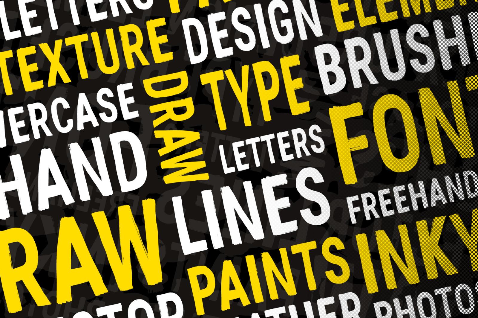 Flat Brush: A Textured Hand-made Brush Font