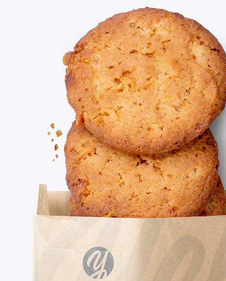 Kraft Paper Bag with Cookies Mockup