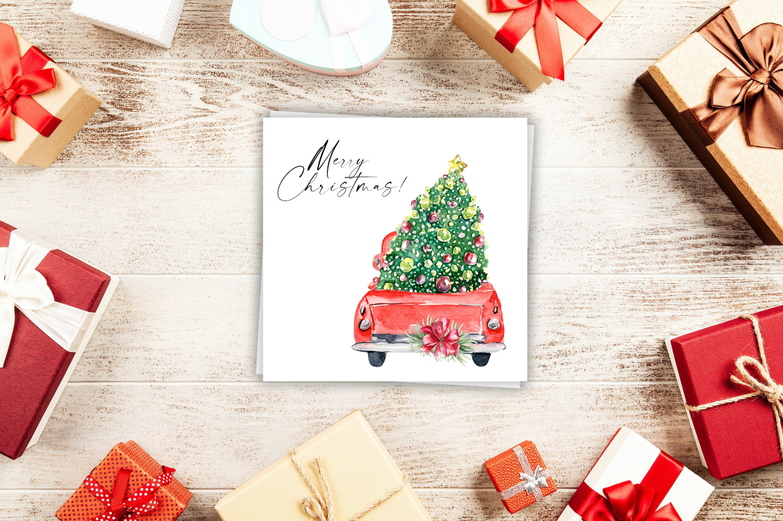 Watercolor red christmas truck clipart, Hand drawn vintage red truck with christmas tree png