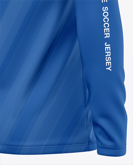 Long Sleeve Soccer Jersey Mockup - Back Half Side View