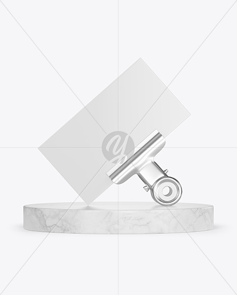 Glossy Business Card with Pin & Marble Mockup