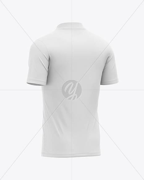 Men's V-Neck Sports Jersey Mockup - Back Half-Side View