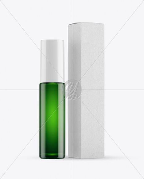 Green Glass Roller Bottle with Kraft Box Mockup