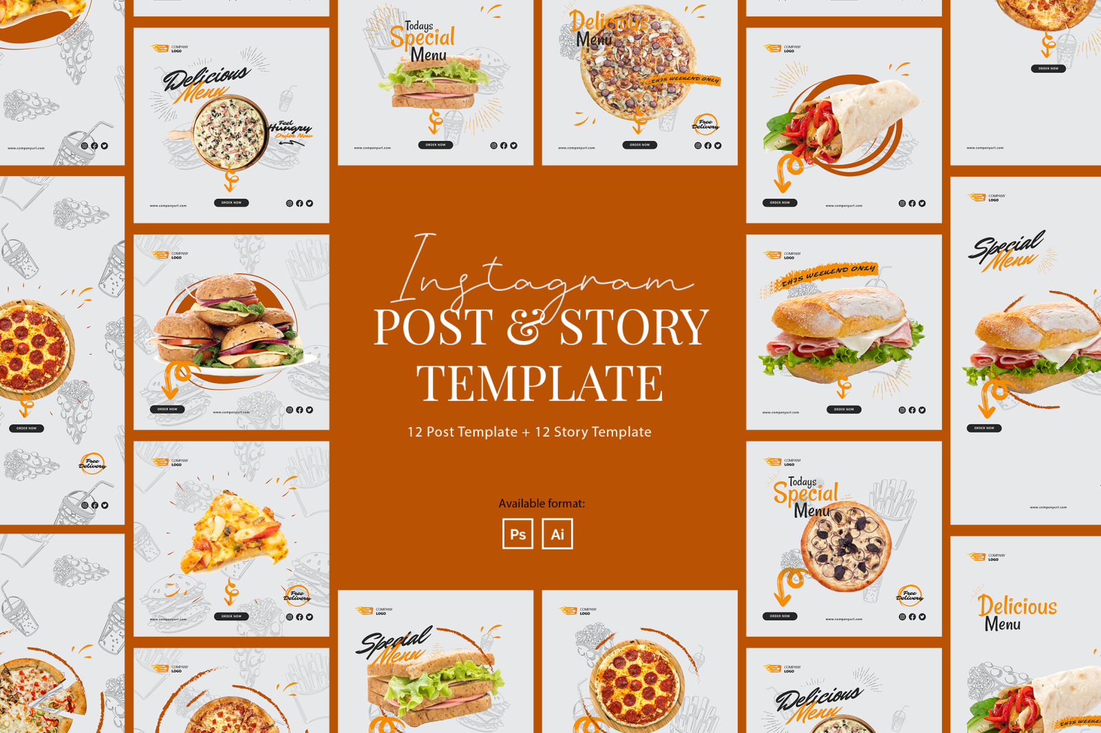 Fast Food Instagram Post and Story Template