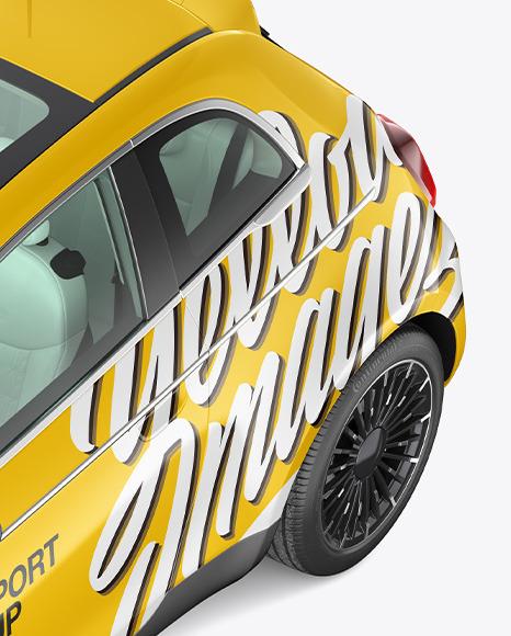 EV Compact Car Mockup - High Angle View