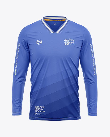 Men's Long Sleeve Soccer Jersey Mockup - Front View