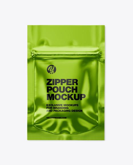 Metallic Pouch W/ Zipper Mockup