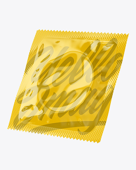 Two Glossy Condom Packaging Mockup