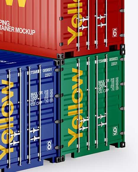 Three Shipping Containers Mockup - Half Side View
