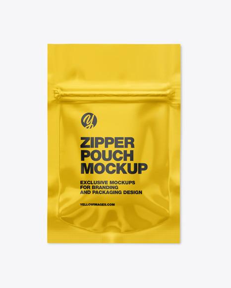 Glossy Pouch W/ Zipper Mockup