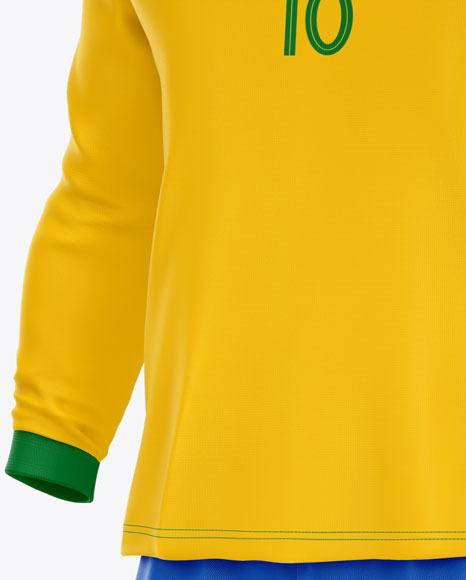 Football Kit Long Sleeve Mockup – Half Side View