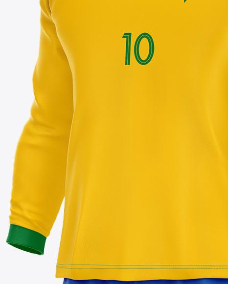 Football Kit Long Sleeve Mockup - Half Side View