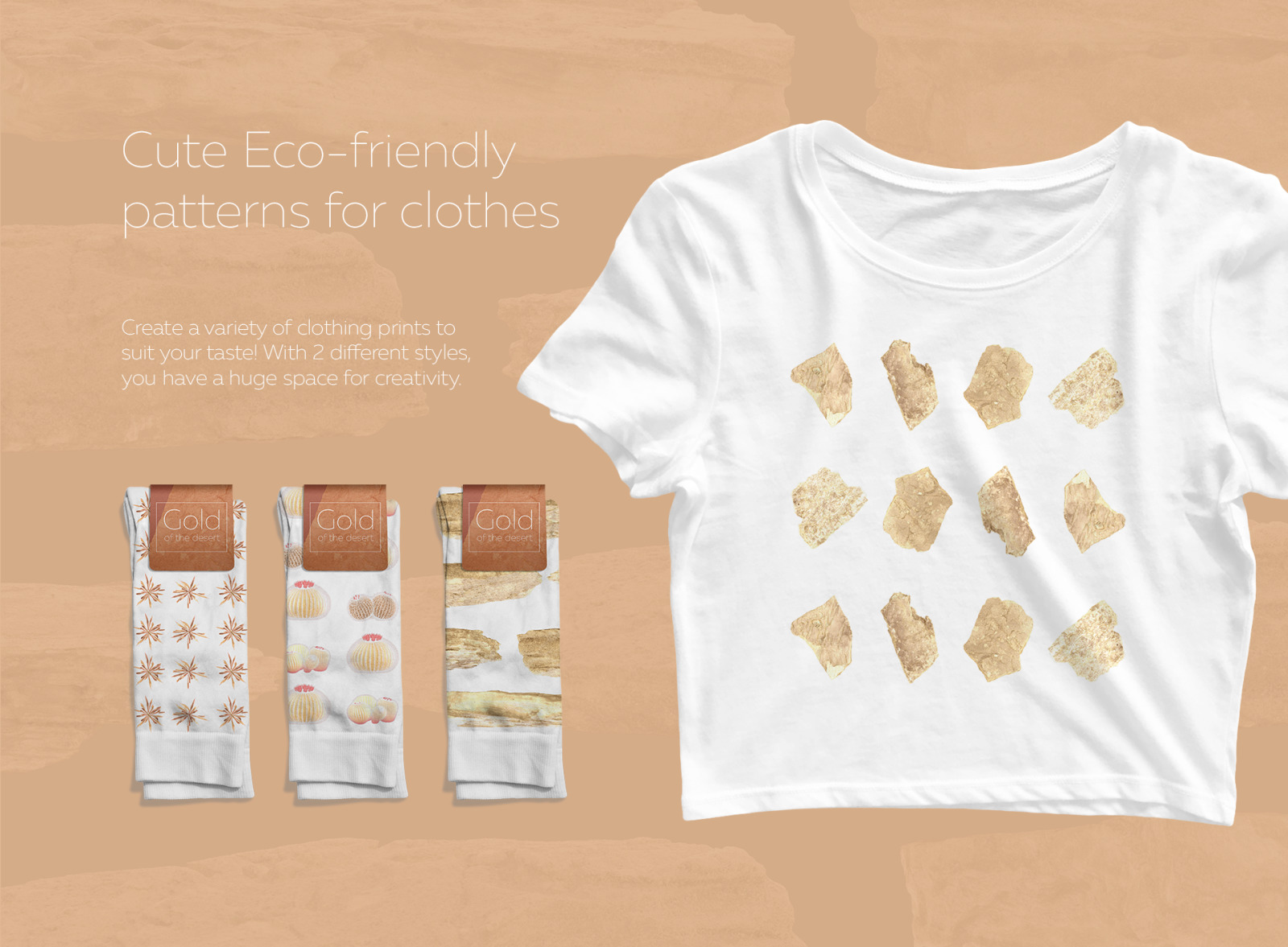 Gold of the desert #02, 310 cactus and rock mockups + 50 patterns