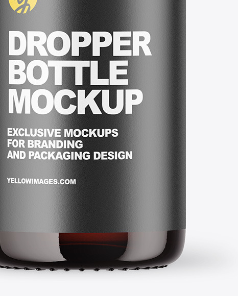 Dark Amber Glass Dropper Bottle Mockup