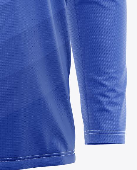 Men's Long Sleeve Soccer Jersey Mockup - Front Half-Side View