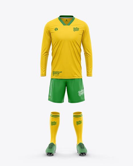 Men's V-Neck LS Full Soccer Kit - Front View