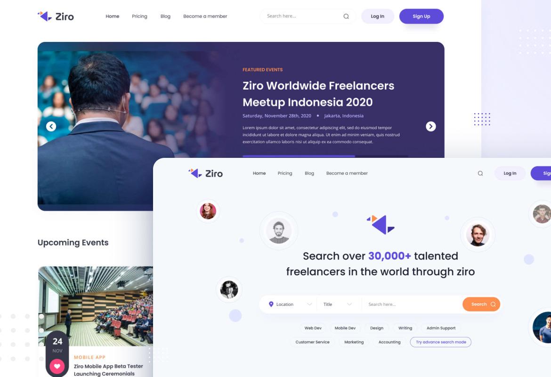 Ziro - Freelancer Directory Website Design Template