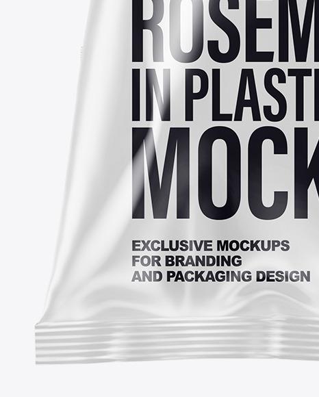 Plastic Bag With Organic Rosemary Mockup