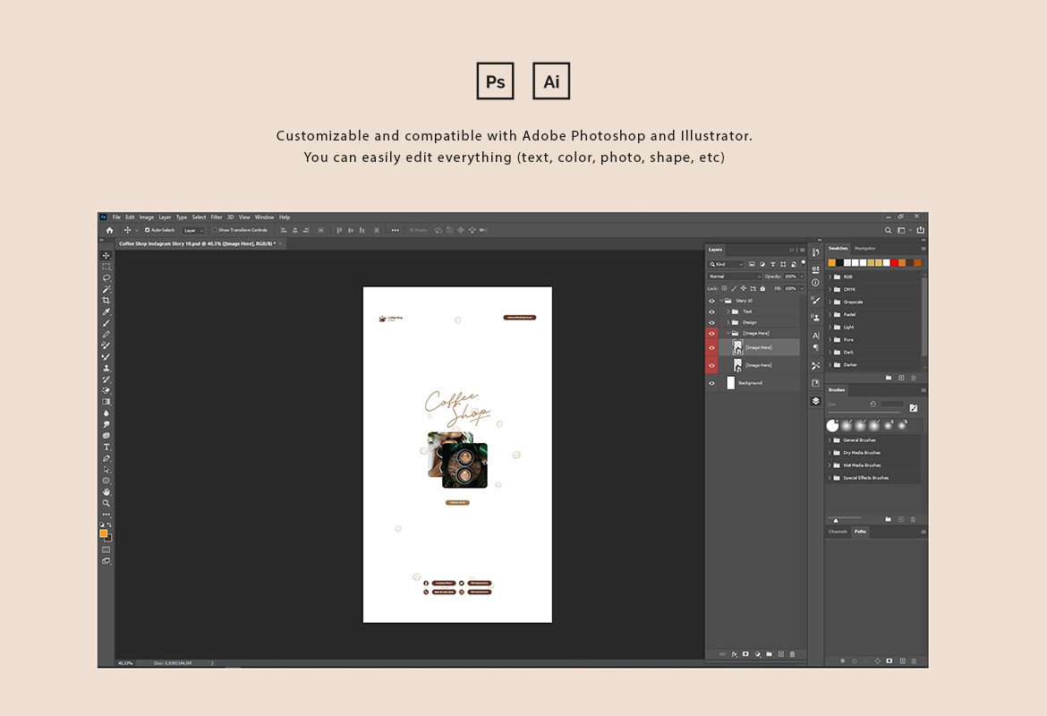 Coffee Shop Instagram Post and Story Template
