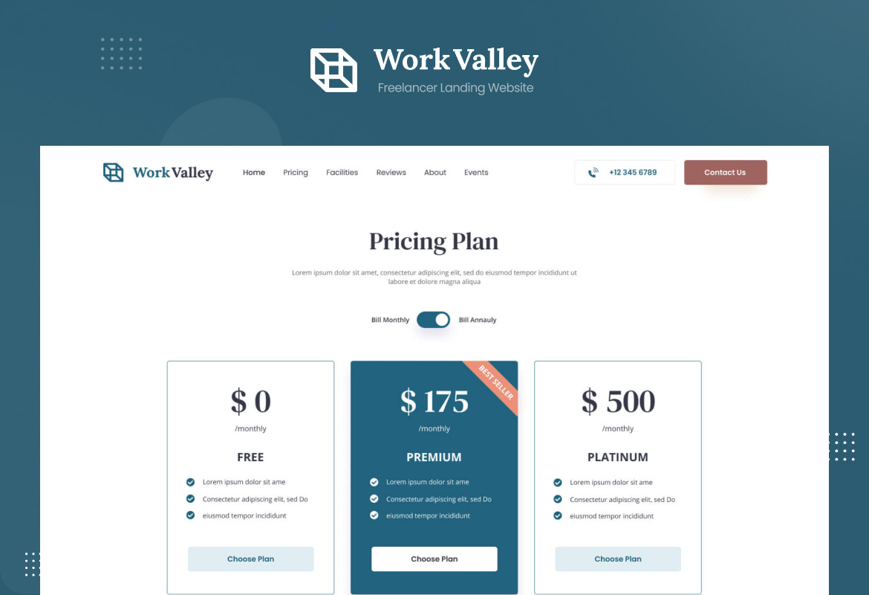 Work Valley - Coworking Space Website UI Design