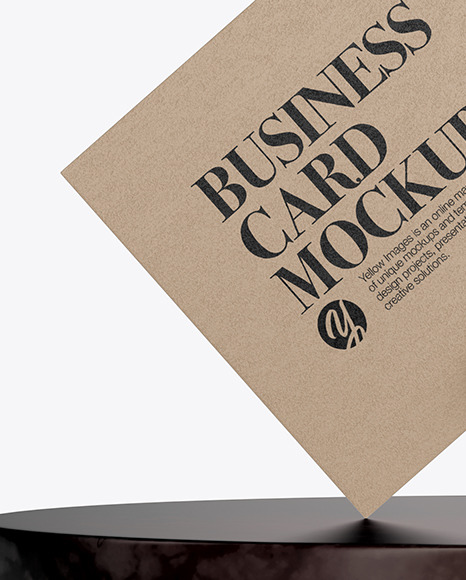 Textured Business Card with Pin & Marble Mockup