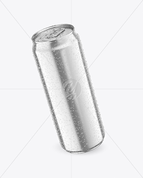 500ml Metallic Drink Can With Condensation Mockup
