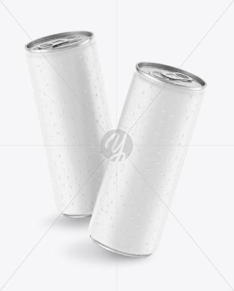 Download Two Matte Drink Cans Mockup Free Mockups