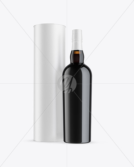Amber Glass Port Wine Bottle with Tube Mockup