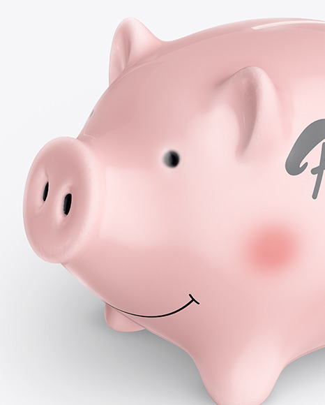 Piggy bank Mockup - Half Side View