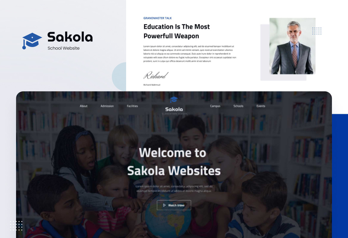 Sakola - Senior High School Website Design UI