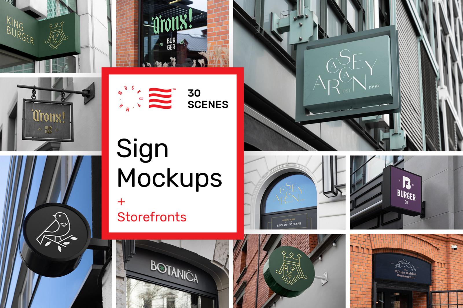 Sign Mockups and Storefront Mockups