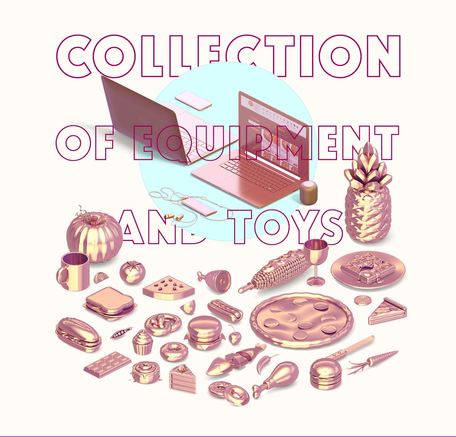 1020 gold items of technic and toys