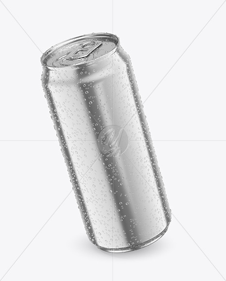 440ml Metallic Drink Can With Condensation Mockup