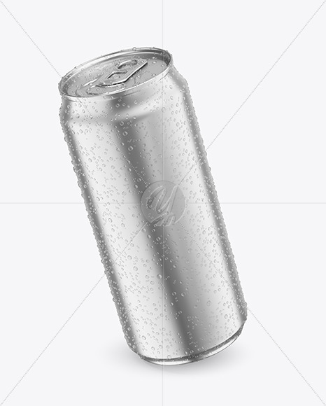 440ml Matte Metallic Drink Can With Condensation Mockup