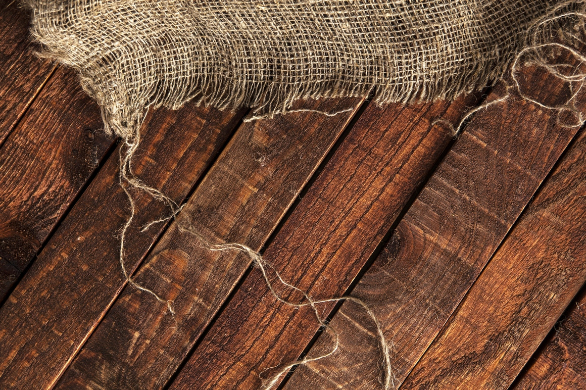 Rustic burlap on wooden table