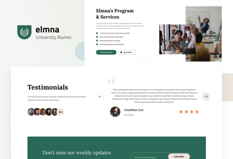 Elmna - University Alumni Website Design UI