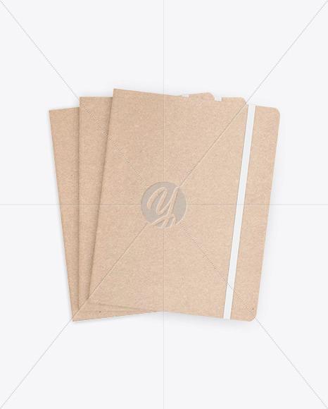 Set of Three Kraft Notebooks Mockup