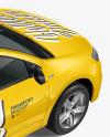 Hatchback Mockup - Back Half Side View (High-Angle Shot)