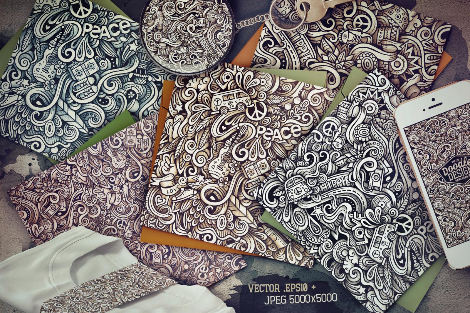 Hippie Graphic Doodle Patterns